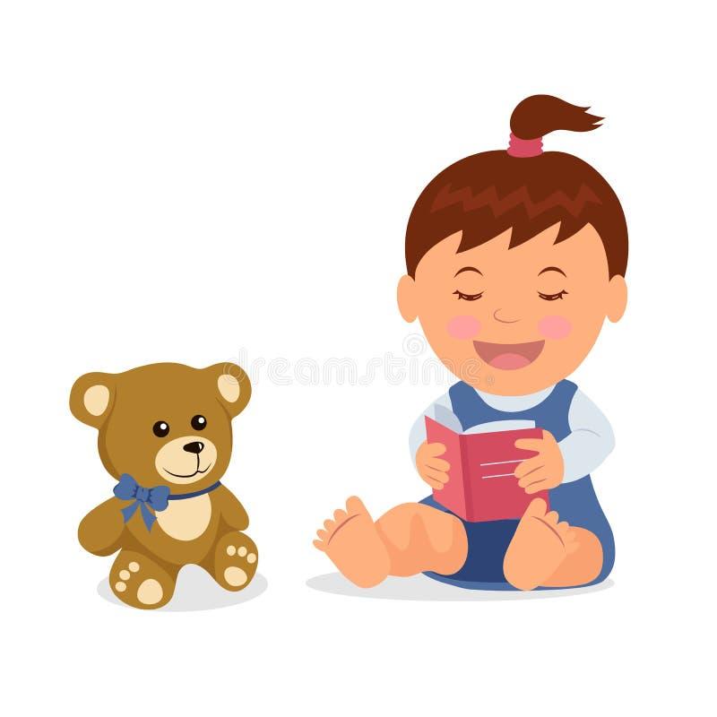 Le caractère d'isolement d'enfant en bas âge lit un livre tout en se reposant sur le plancher dans un style plat illustration libre de droits