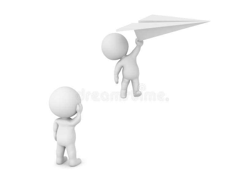 le caractère 3D regarde un autre vol tenant loin un avion de papier illustration de vecteur