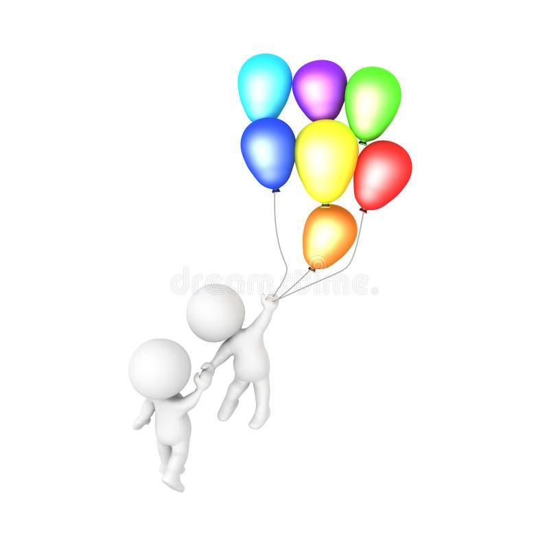 le caractère 3D tenant des ballons vole et prend des autres illustration libre de droits
