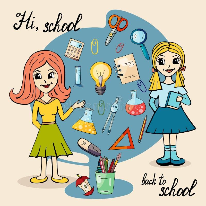 Le caractère d'un instituteur et d'une écolière contre le contexte de la papeterie pour l'école illustration stock
