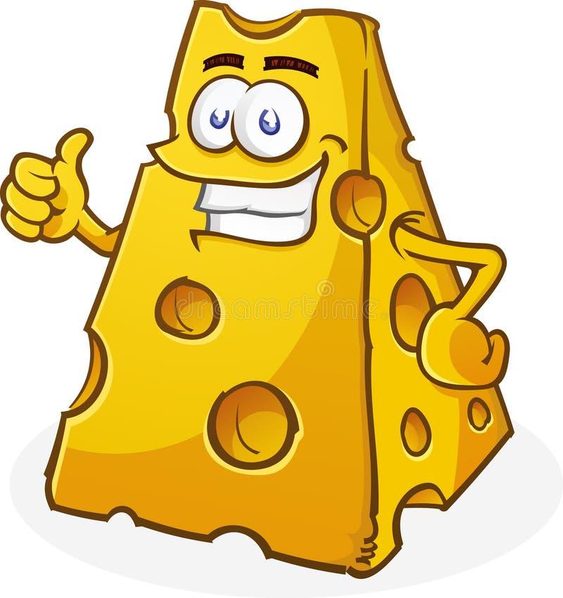 Le caractère de fromage manie maladroitement vers le haut illustration stock