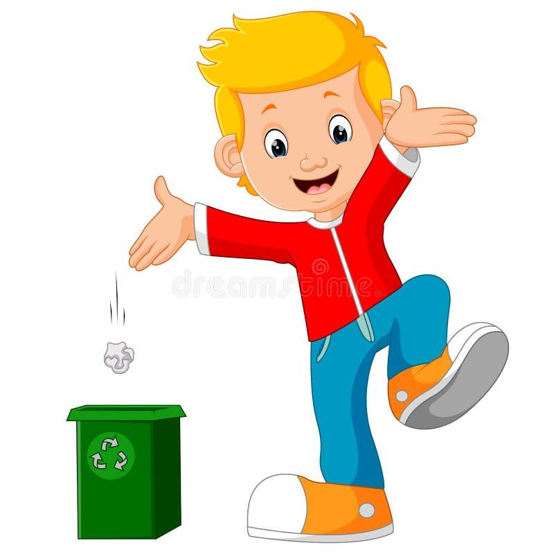 Le caractère de garçon jette des déchets dans les déchets illustration stock