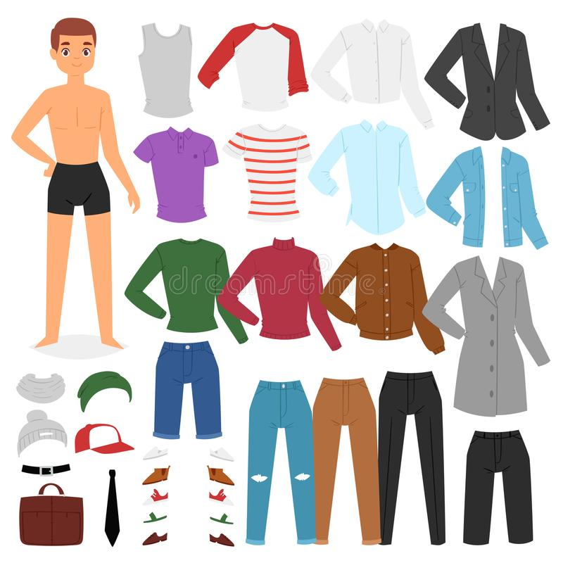 Le caractère de garçon de vecteur d'habillement d'homme habillent des vêtements avec le pantalon de mode ou chaussent l'ensemble  illustration de vecteur