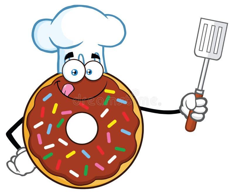 Le caractère de mascotte de Chocolate Donut Cartoon de chef avec arrose tenir une spatule encochée illustration libre de droits