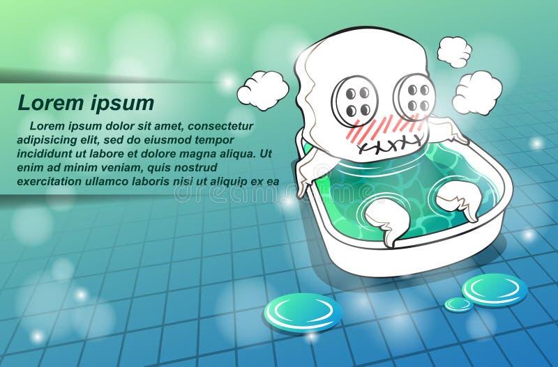 Le caractère de mascotte prend un bain illustration stock