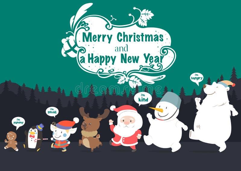 Le caractère de Noël et la nouvelle année dirigent la carte de voeux illustration de vecteur