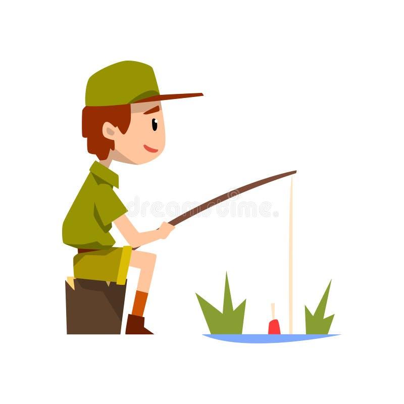 Le caractère de scout de garçon dans la pêche uniforme, les aventures extérieures et l'activité de survie dans le camping dirigen illustration libre de droits
