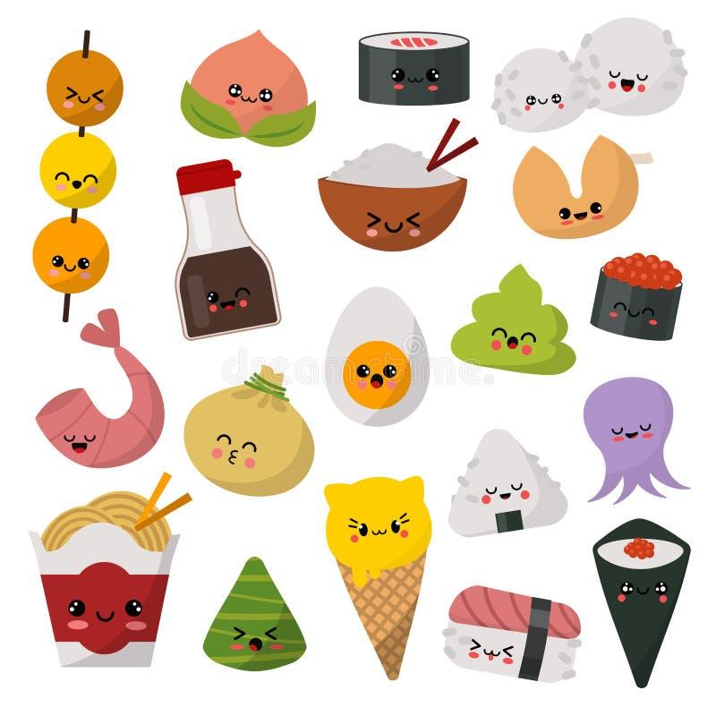 Le caractère de sushi d'émoticône de vecteur de nourriture de Kawaii et le sashimi japonais d'emoji roulent avec du riz de bande  illustration stock