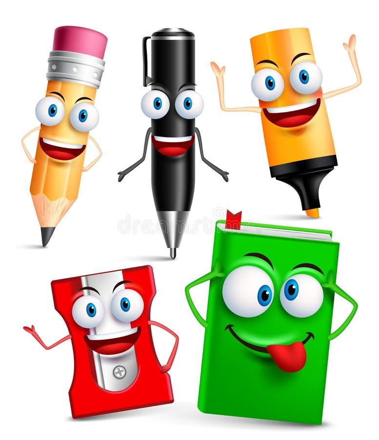 Le caractère de vecteur de la mascotte drôle 3D d'articles d'école a placé avec des gestes illustration libre de droits