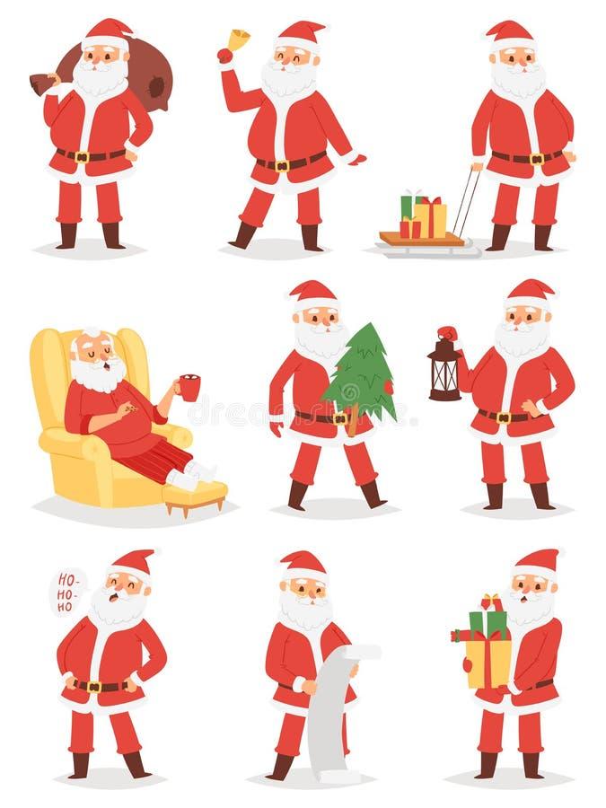Le caractère de vecteur de Santa Claus de Noël pose l'homme de Noël d'illustration dans le costume et le chapeau traditionnels ro illustration de vecteur