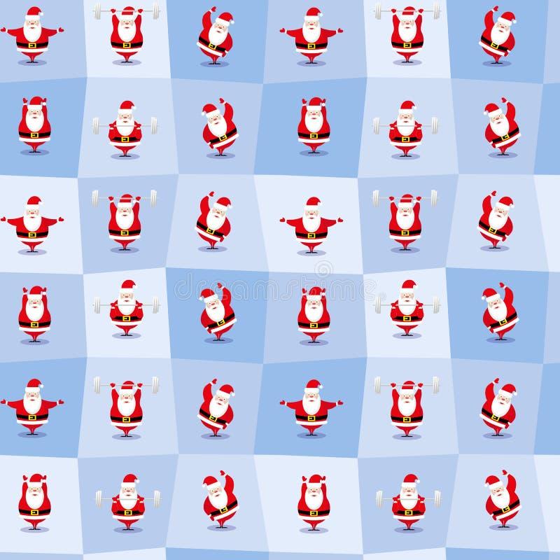 Le caractère différent drôle de Santa Claus dans le style de bande dessinée fait des exercices de matin Fond sans joint de vecteu photographie stock libre de droits