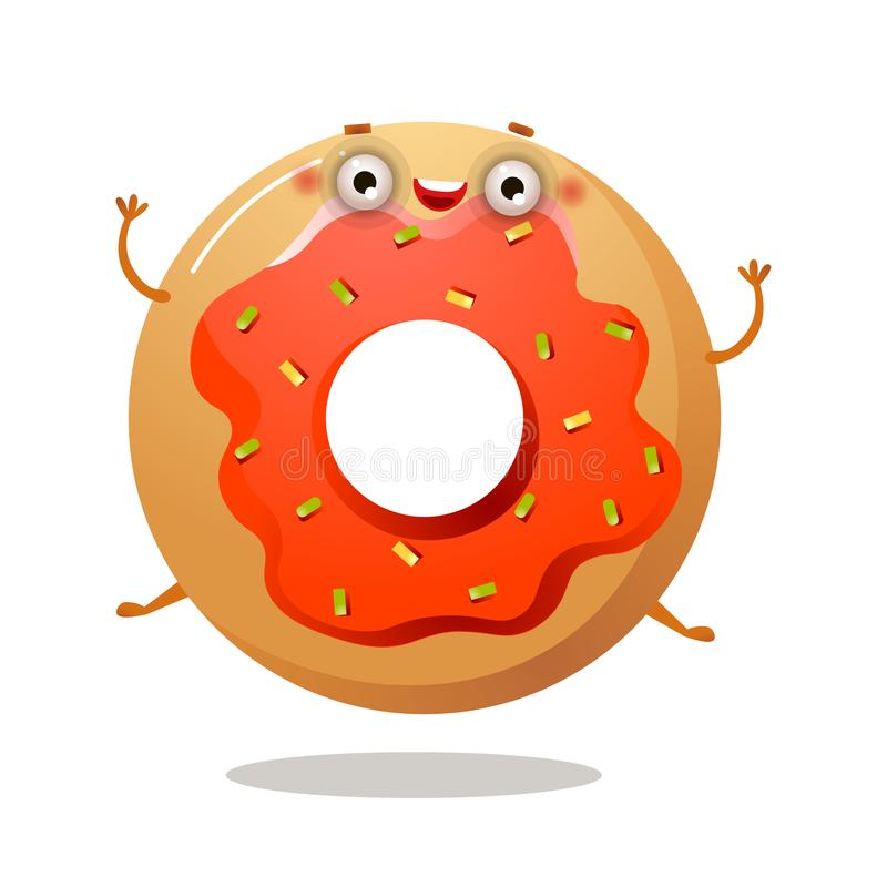 Le caractère doux drôle mignon de beignet sourit et saute illustration libre de droits