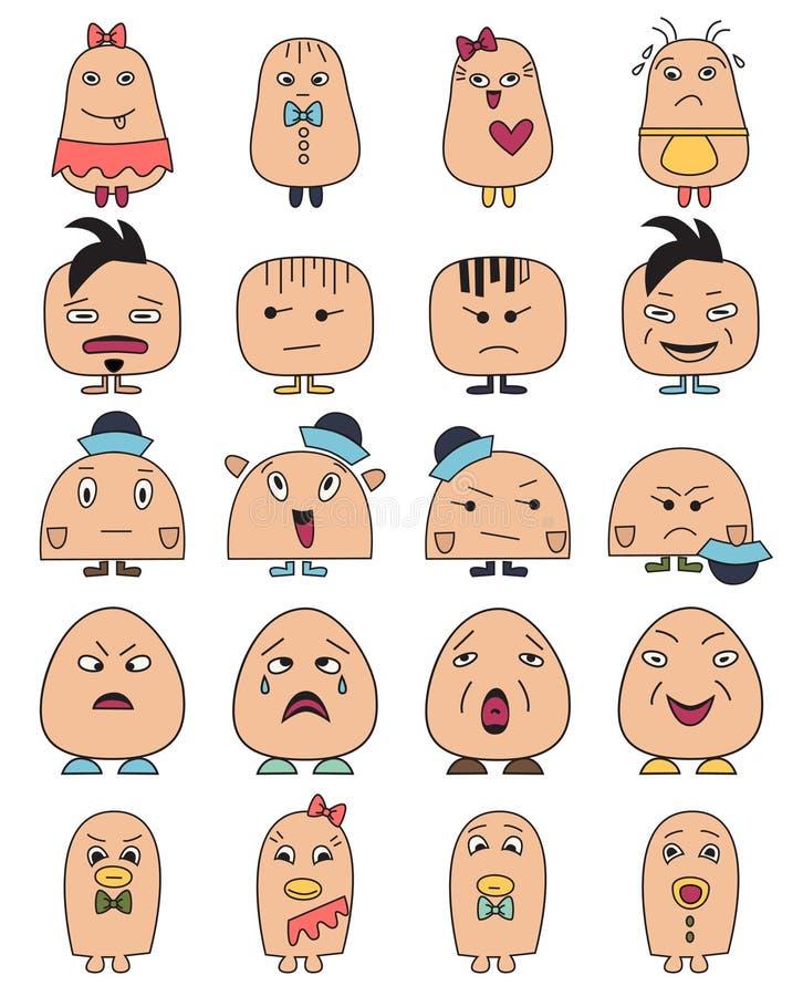 Le caractère drôle se pose à des avatars Icônes de vecteur de style de griffonnage réglées illustration stock