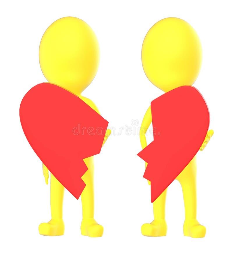 le caractère du jaune 3d, couple se cassent, illustration de vecteur