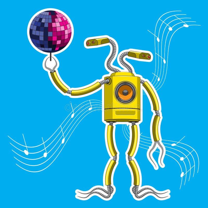 Le caractère est un robot avec un haut-parleur dans le corps, tenant une boule de disco Dessins de vecteur illustration de vecteur