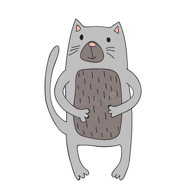 Le caractère mignon de chat de bande dessinée, vecteur a isolé l'illustration dans le style simple illustration libre de droits