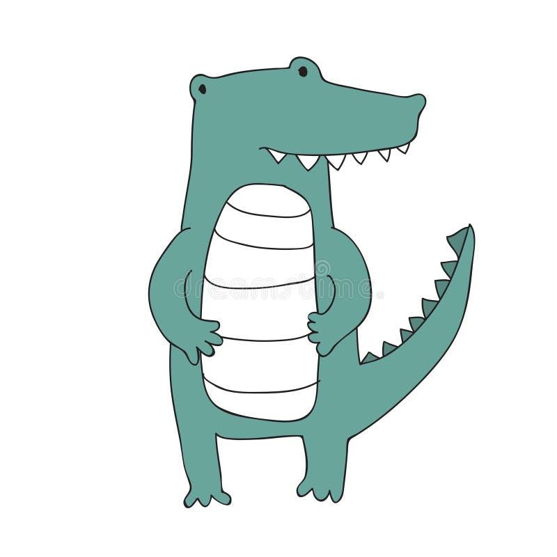 Le caractère mignon de crocodile de bande dessinée, vecteur a isolé l'illustration dans le style simple illustration stock