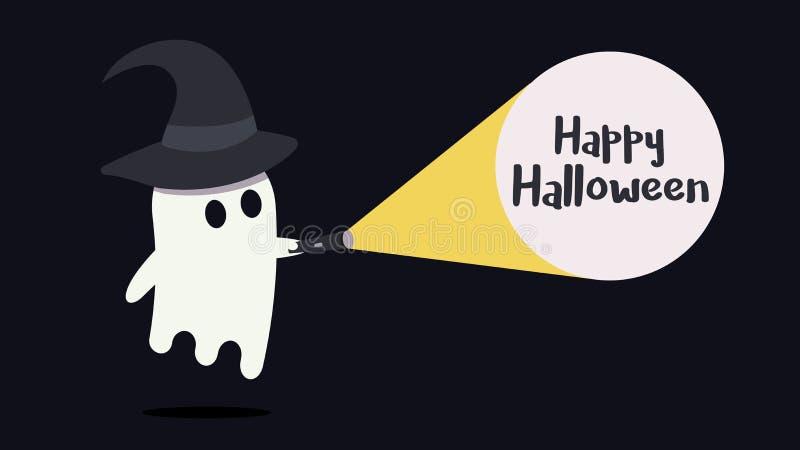 Le caractère mignon de fantôme avec un chapeau de sorcière a juste trouvé le message heureux de Halloween avec sa lampe-torche Il illustration libre de droits