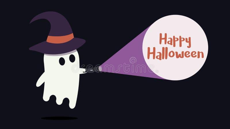 Le caractère mignon de fantôme avec un chapeau de sorcière a juste trouvé le message heureux de Halloween avec sa lampe-torche Il illustration stock
