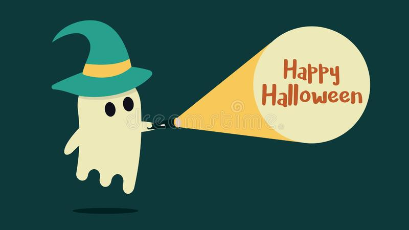 Le caractère mignon de fantôme avec un chapeau de sorcière a juste trouvé le message heureux de Halloween avec sa lampe-torche Il illustration de vecteur
