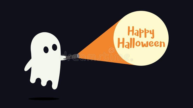 Le caractère mignon de fantôme a juste trouvé le message heureux de Halloween avec sa lampe-torche Illustration de vecteur illustration stock