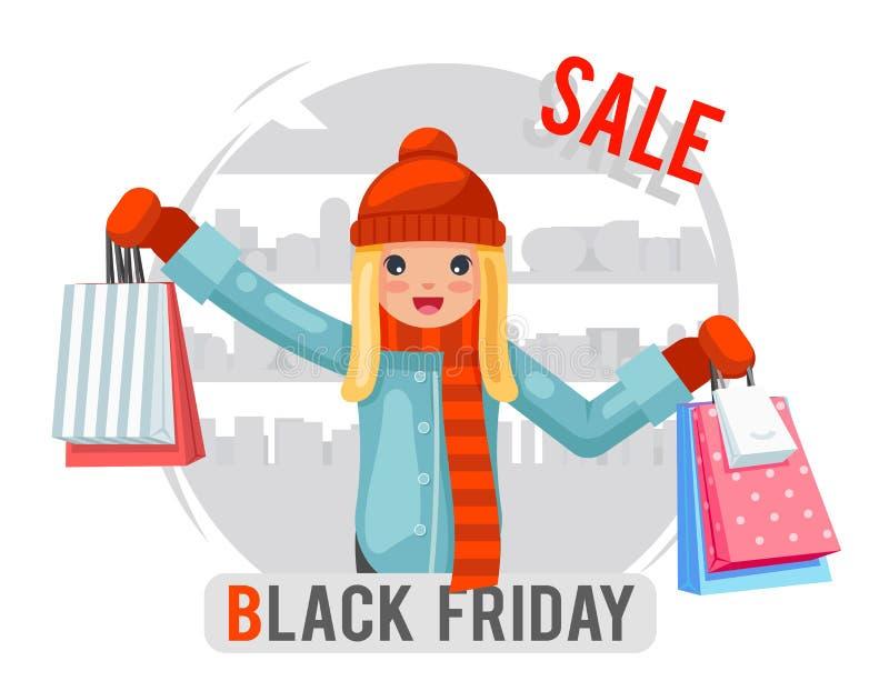 Le caractère plat de achat de conception de fille de noir de vendredi de vente de sac de paquet d'achat de fond mignon de boutiqu illustration libre de droits
