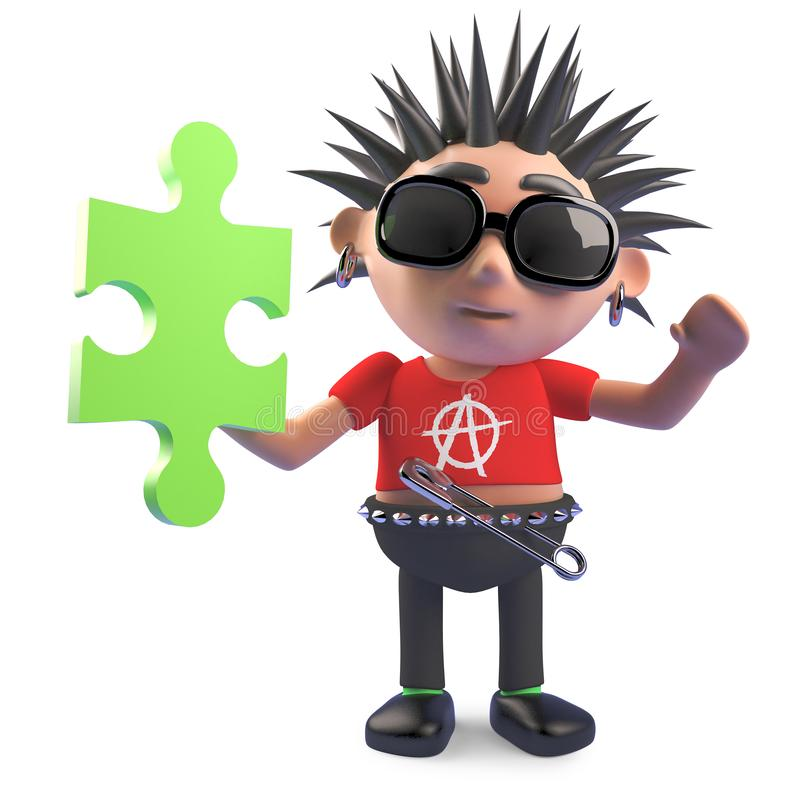 Le caractère punk inconditionnel a trouvé un morceau du puzzle denteux, l'illustration 3d illustration stock