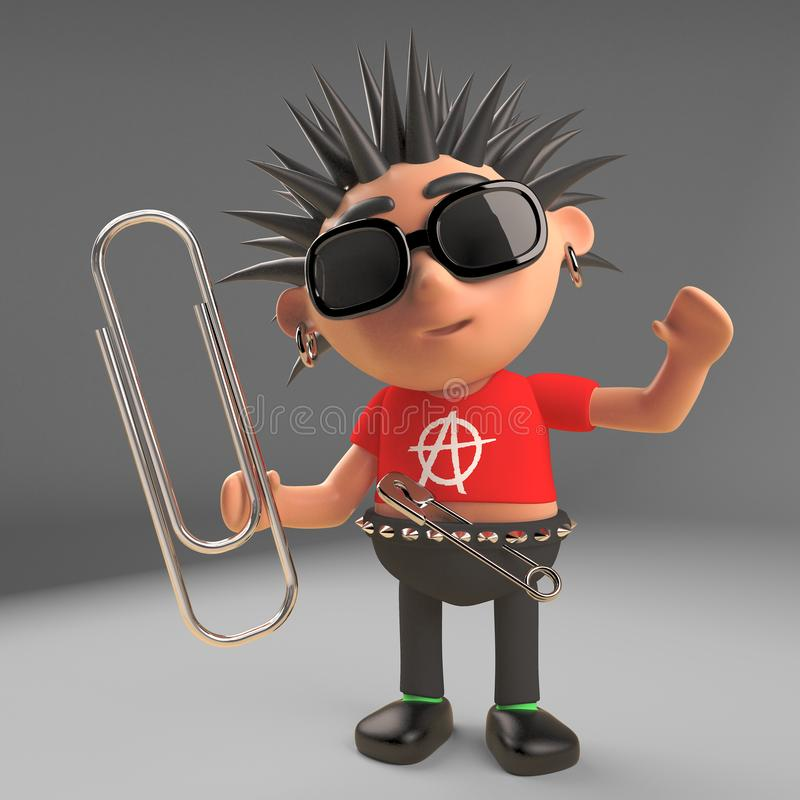 Le caractère rangé de rocker punk emploie un trombone, l'illustration 3d illustration libre de droits