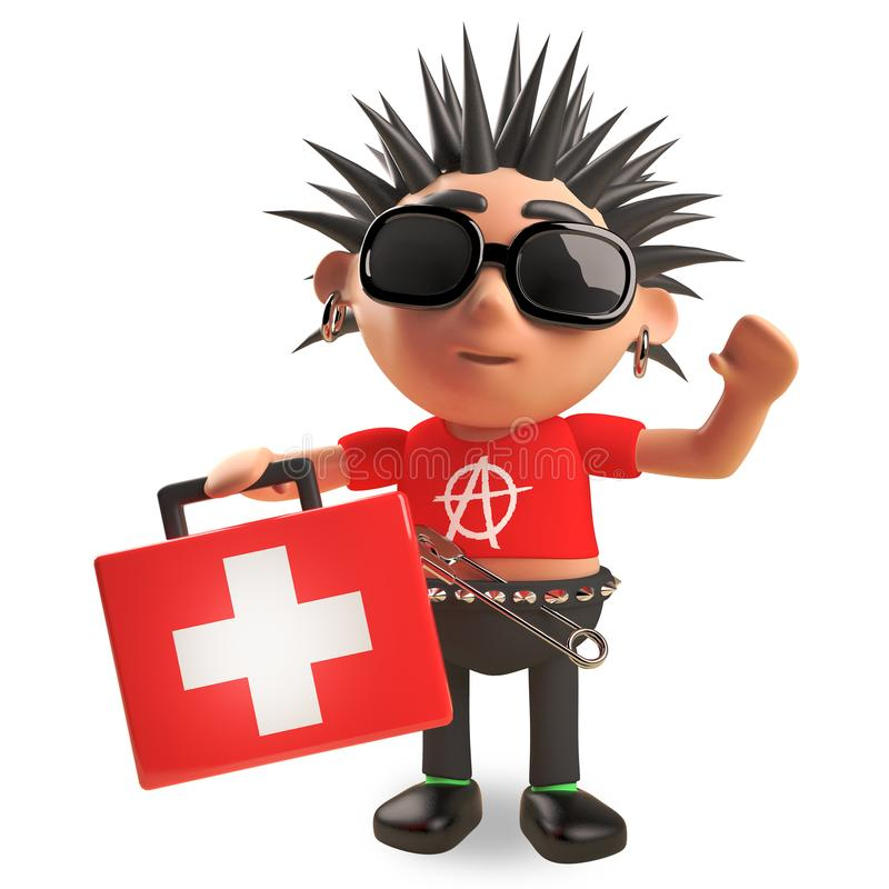 Le caractère utile du punk rock 3d apporte un kit de premiers secours, l'illustration 3d illustration de vecteur