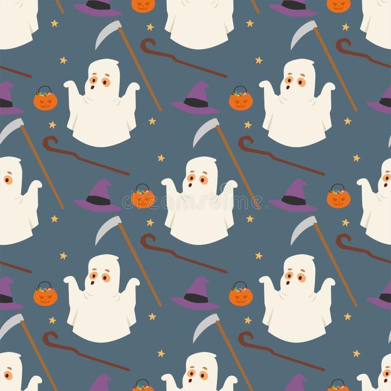 Le caramelle senza cuciture di scherzetto o dolcetto del partito dello strappo di notte del fondo del modello del fantasma di Hal royalty illustrazione gratis