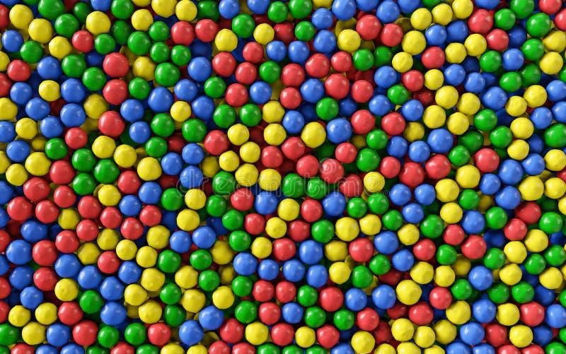 Le caramelle variopinte delle palle del cioccolato hanno ricoperto il modello di superficie lustrato brillante di struttura del f immagini stock libere da diritti