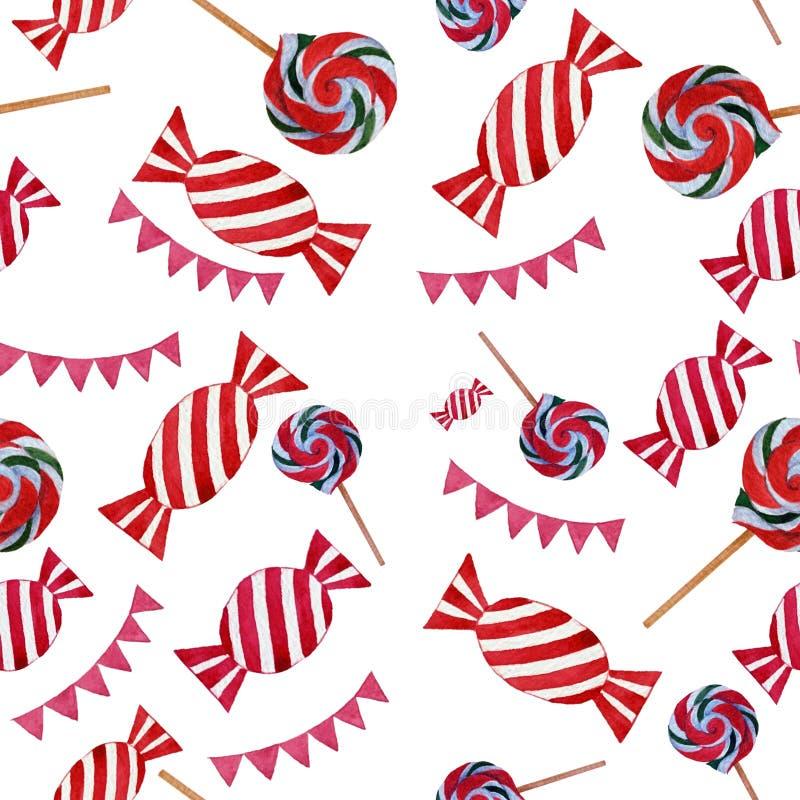 Le caramelle variopinte e le bandiere dell'acquerello senza cuciture modellano gli elementi isolati su fondo bianco illustrazione vettoriale