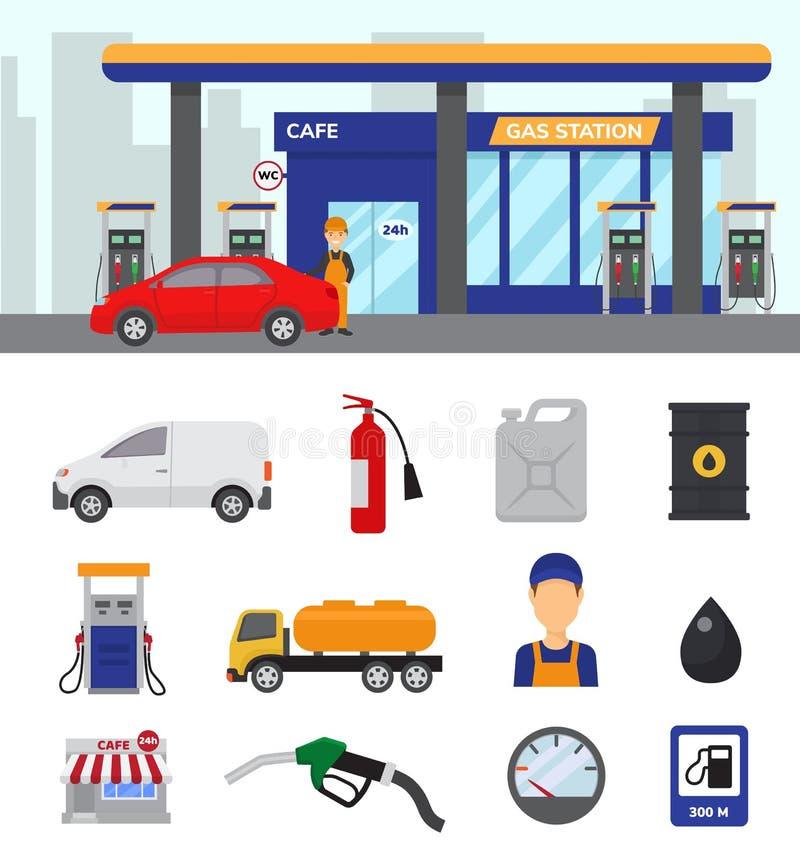 Le carburant d'essence de vecteur de station service ou l'essence et le diesel pour alimenter l'ensemble d'illustration de voitur illustration stock