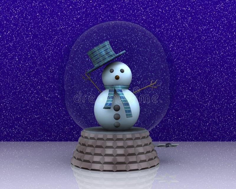 Le carillon avec le bonhomme de neige mignon salue illustration de vecteur