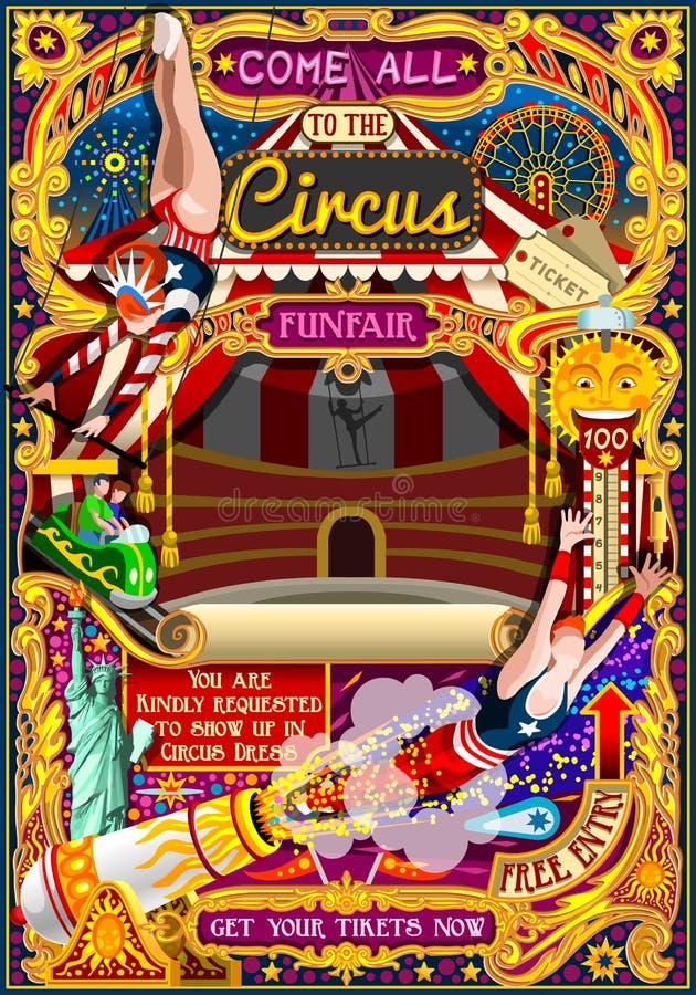 Le carnaval de cirque invitent le vecteur Illustratio de tente d'affiche de parc à thème illustration stock