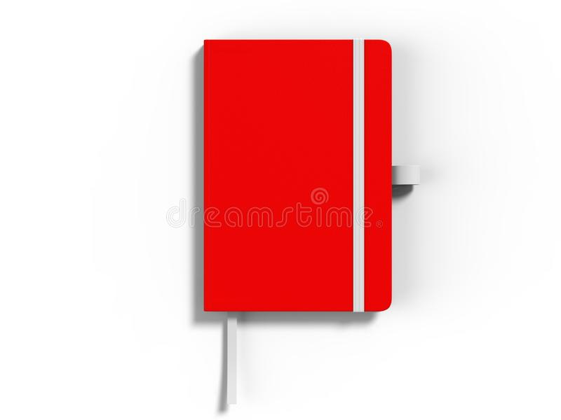 Le carnet avec la fermeture de bande élastique pour stigmatiser et faux vides, 3d rendent l'illustration illustration libre de droits