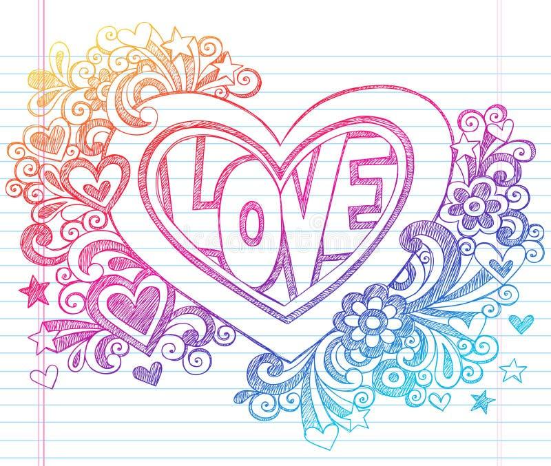 Le carnet peu précis d'amour gribouille le coeur avec des fleurs V illustration de vecteur