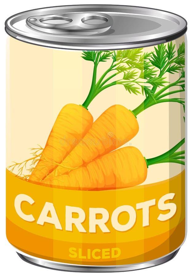 Le carote affettate dentro possono illustrazione di stock