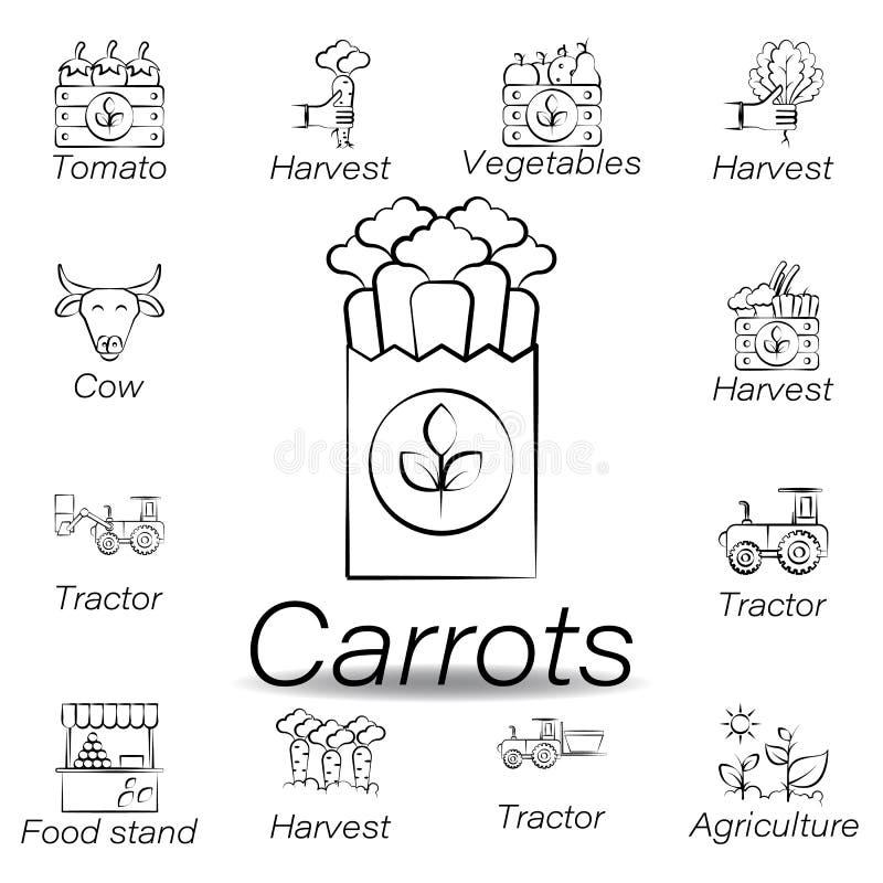 Le carote passano l'icona di tiraggio Elemento di agricoltura delle icone dell'illustrazione I segni ed i simboli possono essere  royalty illustrazione gratis