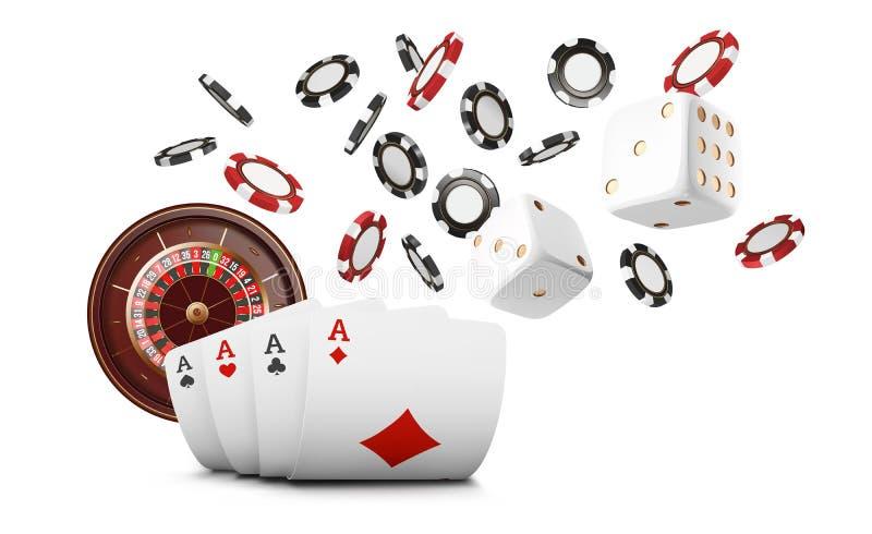 Le carte da gioco ed i chip di poker pilotano il casinò Concetto delle roulette del casinò su fondo bianco Illustrazione di vetto illustrazione di stock