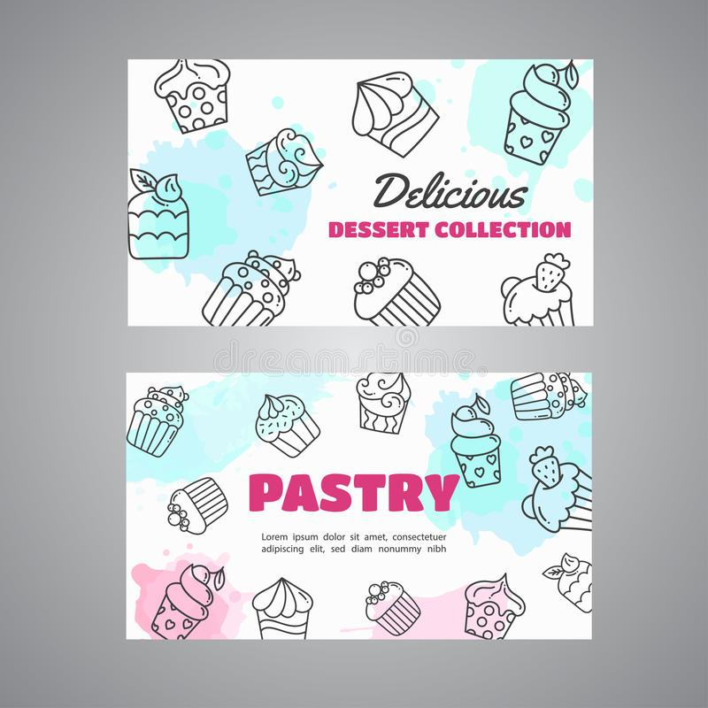 Le carte del bigné con i bigné disegnati a mano ed il rosa spruzza Slogan dolce della pasticceria Vettore della raccolta dei dess illustrazione di stock