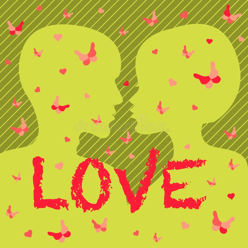 Le carte di giorno di S. Valentino progettano gli amanti dell'annata del modello che segnano invito con lettere brillante della d illustrazione di stock
