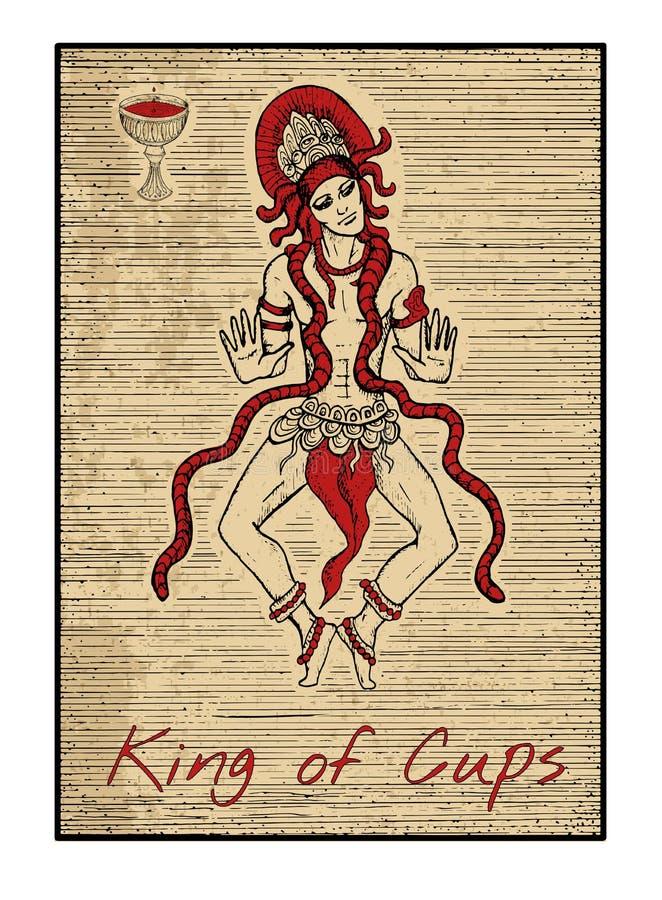 Le carte di tarocchi nel rosso Re delle tazze illustrazione vettoriale