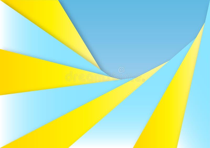 Le carte gialle e blu astratte strutturano per fondo geometrico illustrazione vettoriale