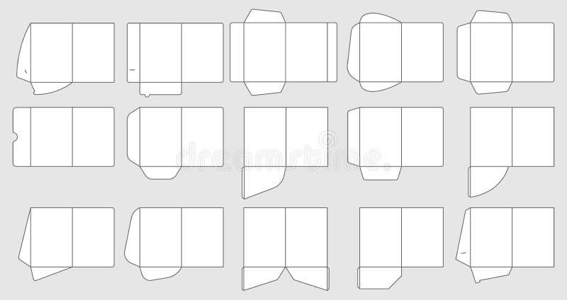 Le carte intascano i modelli della cartella Modello di taglio delle cartelle documenti, insieme di vettore della cartella della c illustrazione vettoriale