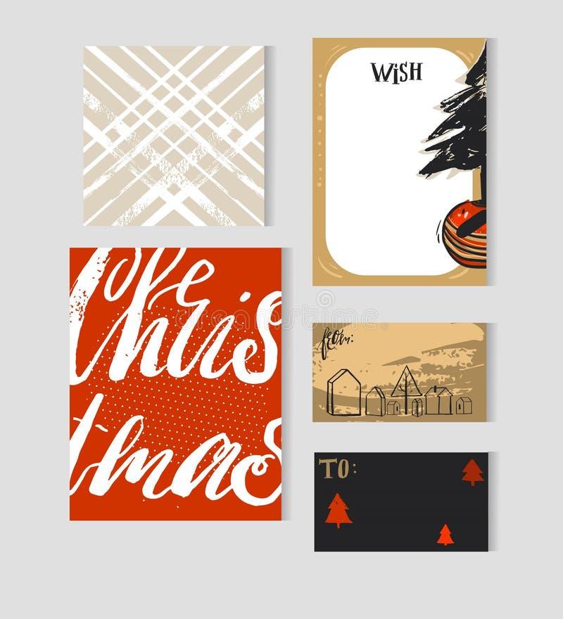 Le cartoline d'auguri disegnate a mano di Natale dell'estratto di vettore, i flayers, le etichette, le insegne, le liste di obiet illustrazione vettoriale