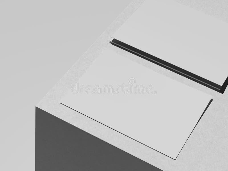 Le carton blanc couvre sur le cube blanc, le rendu 3d illustration stock