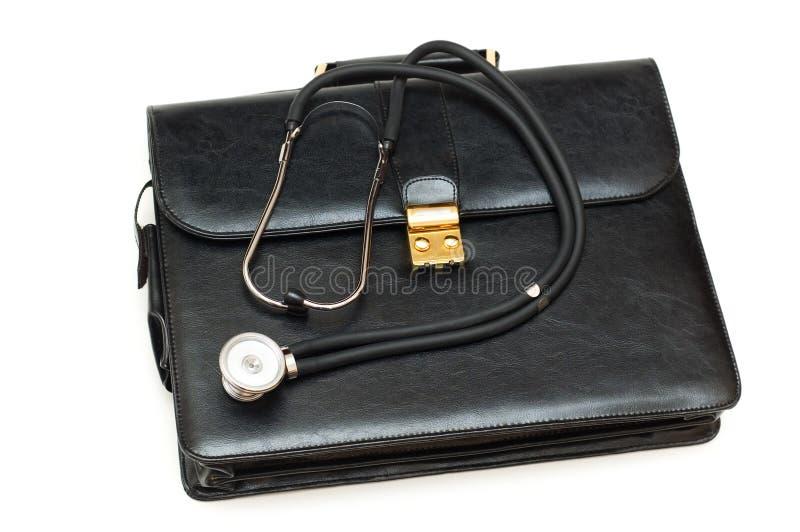 Le cas des médecins avec le stéthoscope images libres de droits