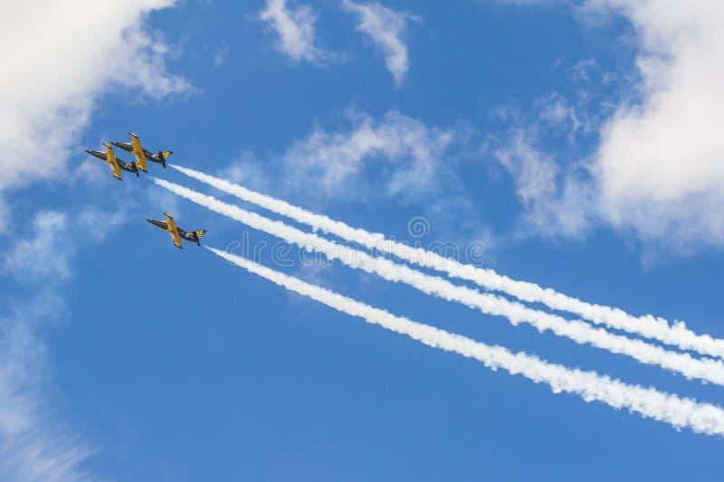 Le cascade surface RUS de l'ALCA L-159 aérien sur l'air pendant la manifestation sportive d'aviation photos libres de droits