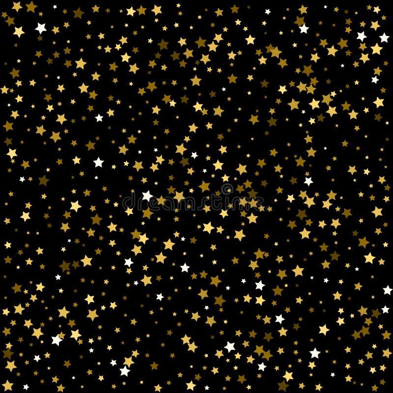 le cascate dei coriandoli dorati stars su fondo nero, n felice illustrazione di stock